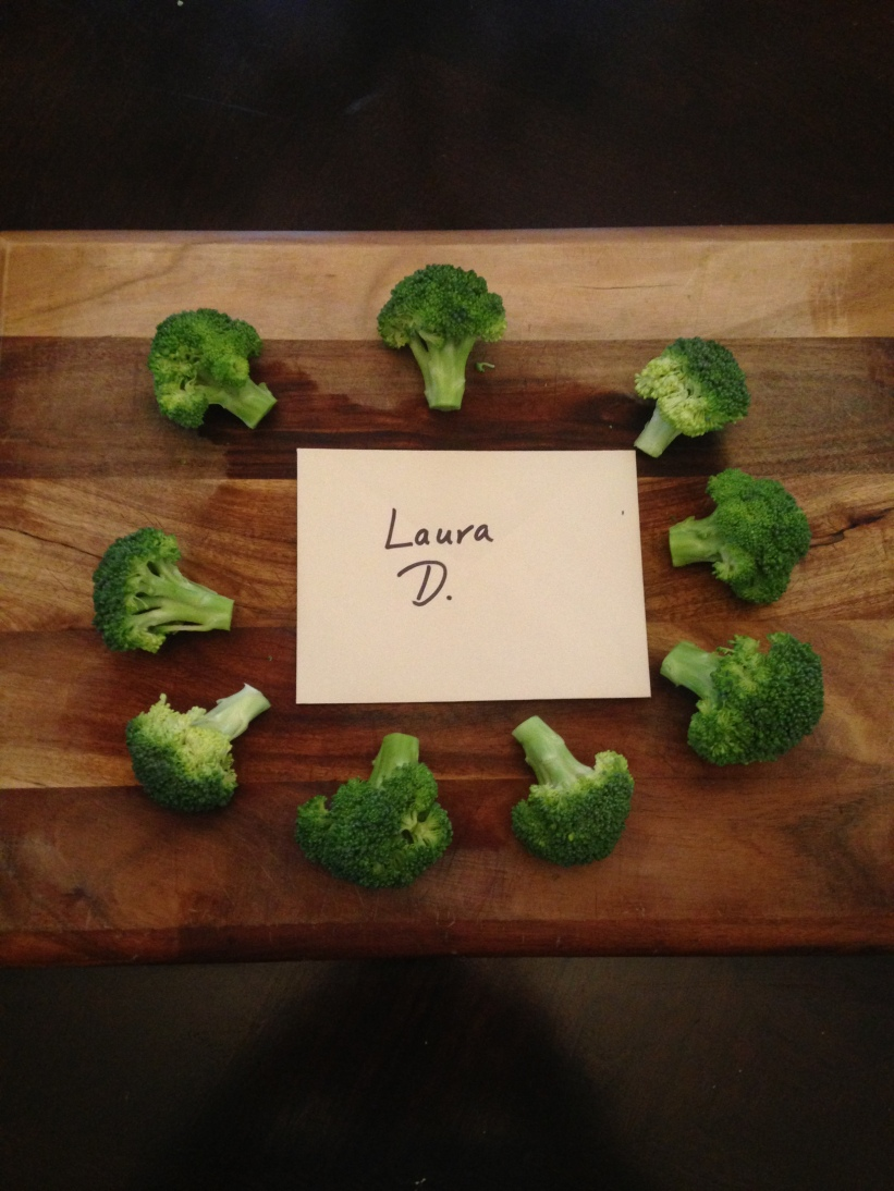 Chopping broccoli.....